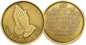 One Day At A Time Praying Hands Bronze Medallion