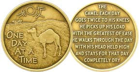 One Day At A Time with Camel Prayer Bronze Medallion