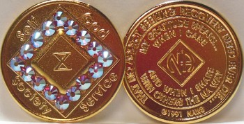 Narcotics Anonymous Gold Plated with Pink Swarovski Crystals Medallion