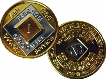 Narcotics Anonymous Gold Silver Plated Medallion