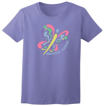 Miracles Happen Butterfly Womans Violet Tee Shirt