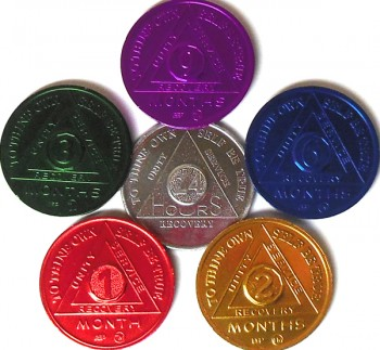 Alcoholics Anonymous Aluminum Meeting Chips Newcomer Thru 9 Months